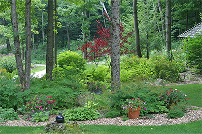 Annuals, perennials, trees, and shrubs are beautifully combined to create each unique garden space.