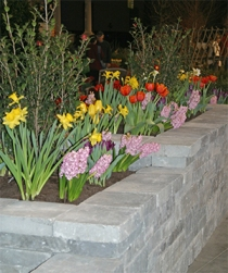 Many displays featured attractive stone walls, patios, and paths.