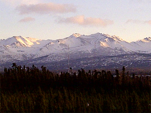 Noon in Alaska on the solstice. The beautiful Chugach mountain range. Sent to me by Bill McDonald