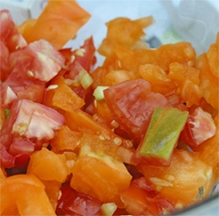 A colorful salsa made from various heirloom tomatoes - beautiful AND tasty!