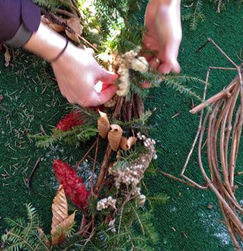 Making a grapevine wreath