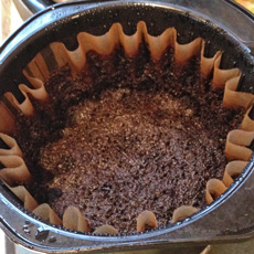 Coffee grounds for compost