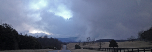 A heavy snow shower blows into the valley on saturday creating near whiteout conditions. Photo taken by Melissa Jones.